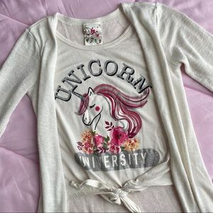 Girls White Unicorn Shirt w/ Cardigan
